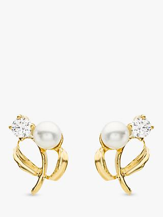 IBB 9ct Yellow Gold Pearl Cubic Zirconia Stud Earrings, Yellow Gold
