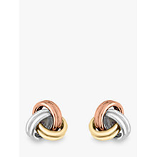 Buy IBB 9ct 3 Colour Gold Knot Stud Earrings, Yellow Gold/Multi Online at johnlewis.com