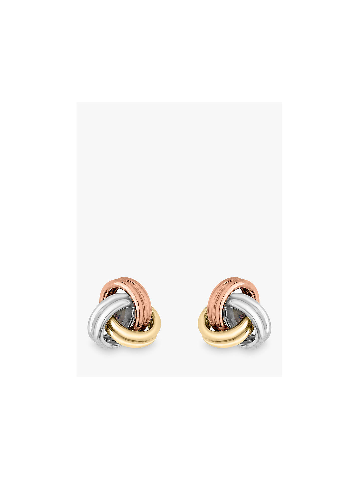 03cf47be2 Buy IBB 9ct 3 Colour Gold Knot Stud Earrings, Yellow Gold/Multi Online at  ...