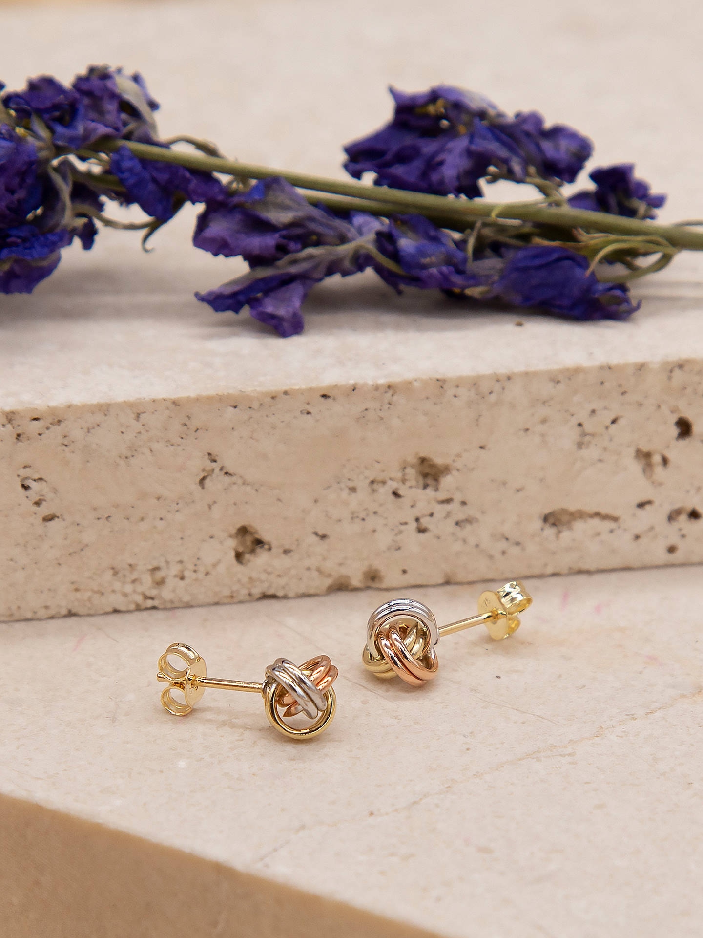 6f0739f61 ... Buy IBB 9ct 3 Colour Gold Knot Stud Earrings, Yellow Gold/Multi Online  at ...