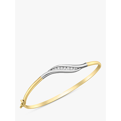 Image of IBB 9ct Two Colour Gold Cubic Zirconia Wave Flexible Bangle, Yellow Gold/White Gold