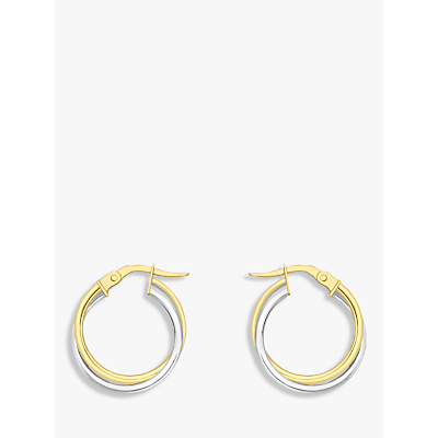Product photo of Ibb 18ct gold two colour double tube creole earrings gold white gold