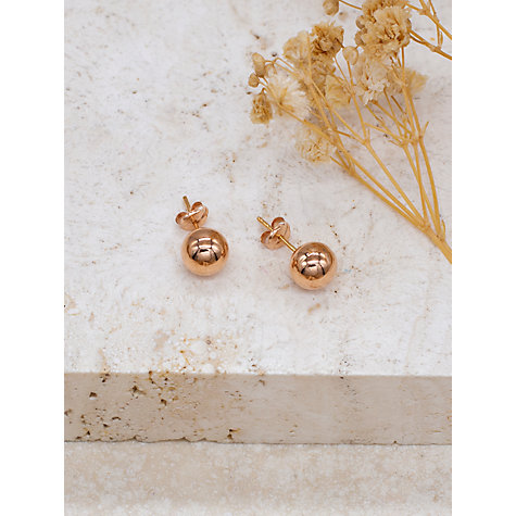 Buy IBB 18ct Gold Ball Stud Earrings, 7mm Online at johnlewis.com