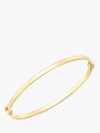 IBB 9ct Yellow Gold Rectangular Tube Oval Bangle