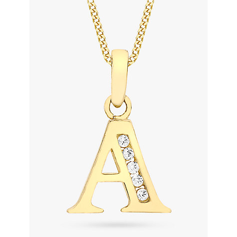 Buy ibb 9ct gold cubic zirconia initial pendant necklace john lewis buy ibb 9ct gold cubic zirconia initial pendant necklace online at johnlewis aloadofball Image collections