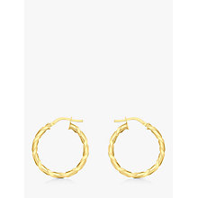 Buy IBB 9ct Gold Twist Creole Earrings, Gold Online at johnlewis.com