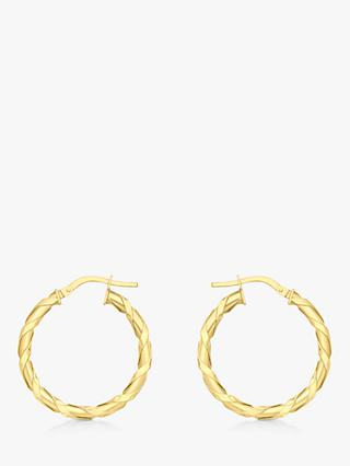 IBB 9ct Gold Twist Creole Earrings, Gold