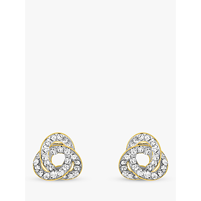 IBB 9ct Yellow Gold Crystalique Knot Stud Earrings, Gold