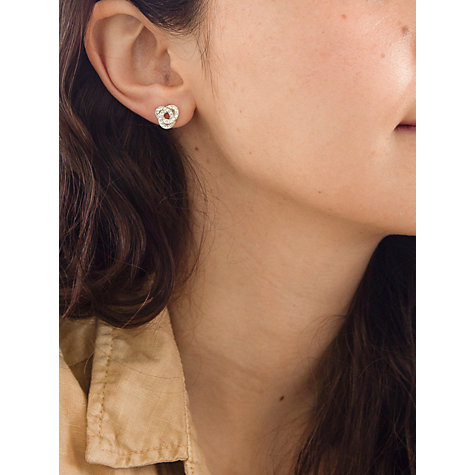 Buy IBB 9ct Yellow Gold Crystalique Knot Stud Earrings, Gold Online at johnlewis.com