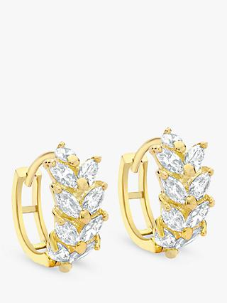 IBB 9ct Yellow Gold Leaf Cluster Huggy Hoop Earrings, Gold