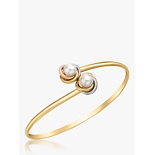 Buy IBB 9ct Three Colour Gold Double Knot and Pearl Flexible Torque Bangle, Multi Online at johnlewis.com