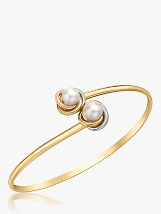 IBB 9ct Three Colour Gold Double Knot and Pearl Flexible Torque Bangle, Multi