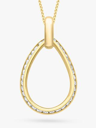 IBB 9ct Gold Cubic Zirconia Outline Teardrop Pendant