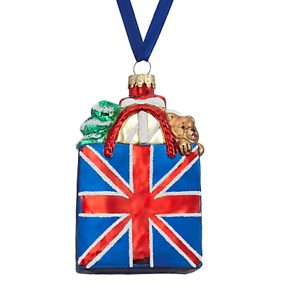 Image of John Lewis Tourism Glass Union Jack Shopping Bag Bauble, Multi