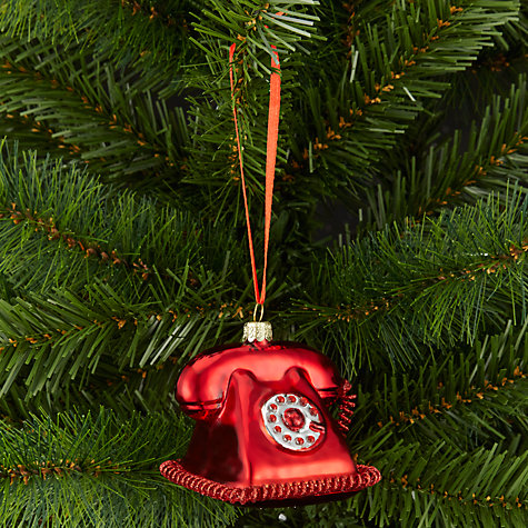Buy John Lewis Tourism Glass Telephone Bauble, Red Online at johnlewis.com