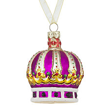 Buy John Lewis Tourism Glass Crown Bauble, Purple Online at johnlewis.com
