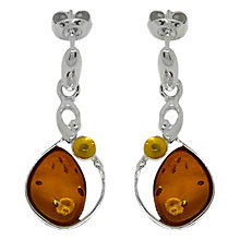 Buy Goldmajor Sterling Silver Bi-Colour Amber Drop Earrings, Amber Online at johnlewis.com