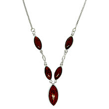 Buy Goldmajor Sterling Silver Amber Marquise Y Necklace, Amber Online at johnlewis.com