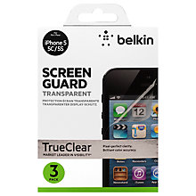Buy Belkin Transparent Screen Protector for iPhone 5/5s, 3 Pack Online at johnlewis.com