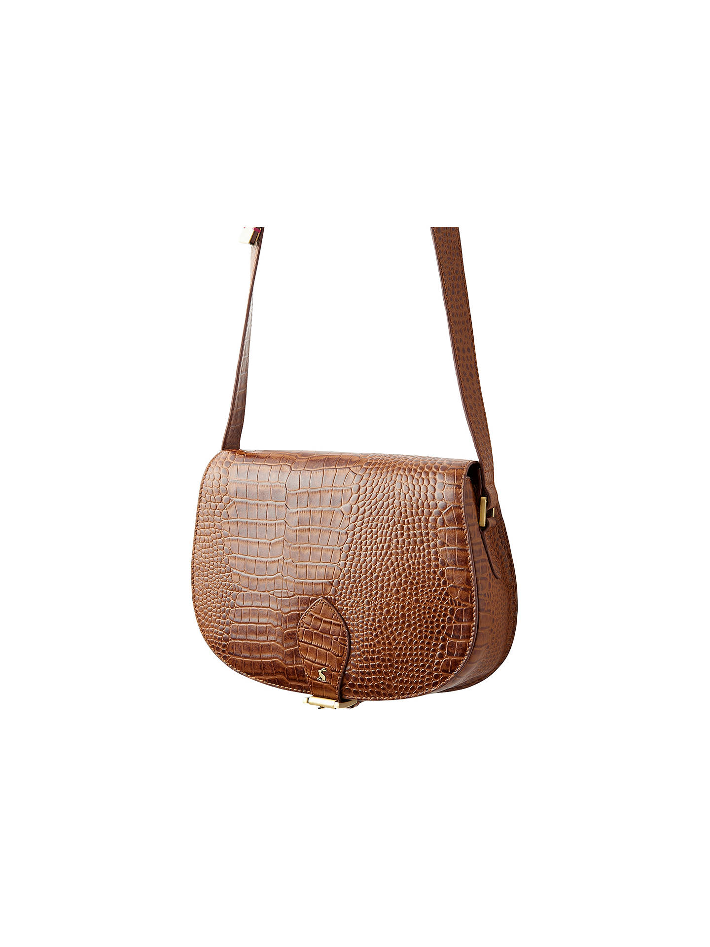 80c450a5 Joules Shoreditch Across Body Leather Croc Saddle Bag, Brown at John ...