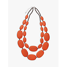 Buy One Button Large Double Row Pebble Necklace, Burnt Orange Online at johnlewis.com