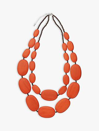 One Button Large Double Row Pebble Necklace, Burnt Orange