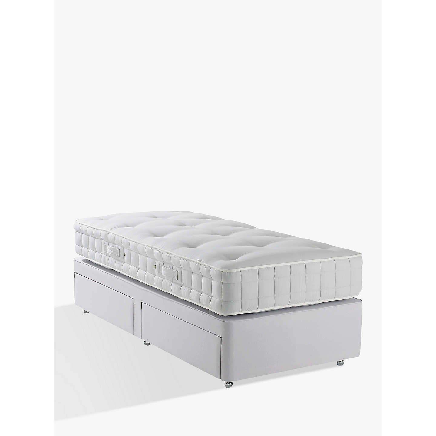 John lewis non sprung ortho divan storage bed grey for Best single divan beds