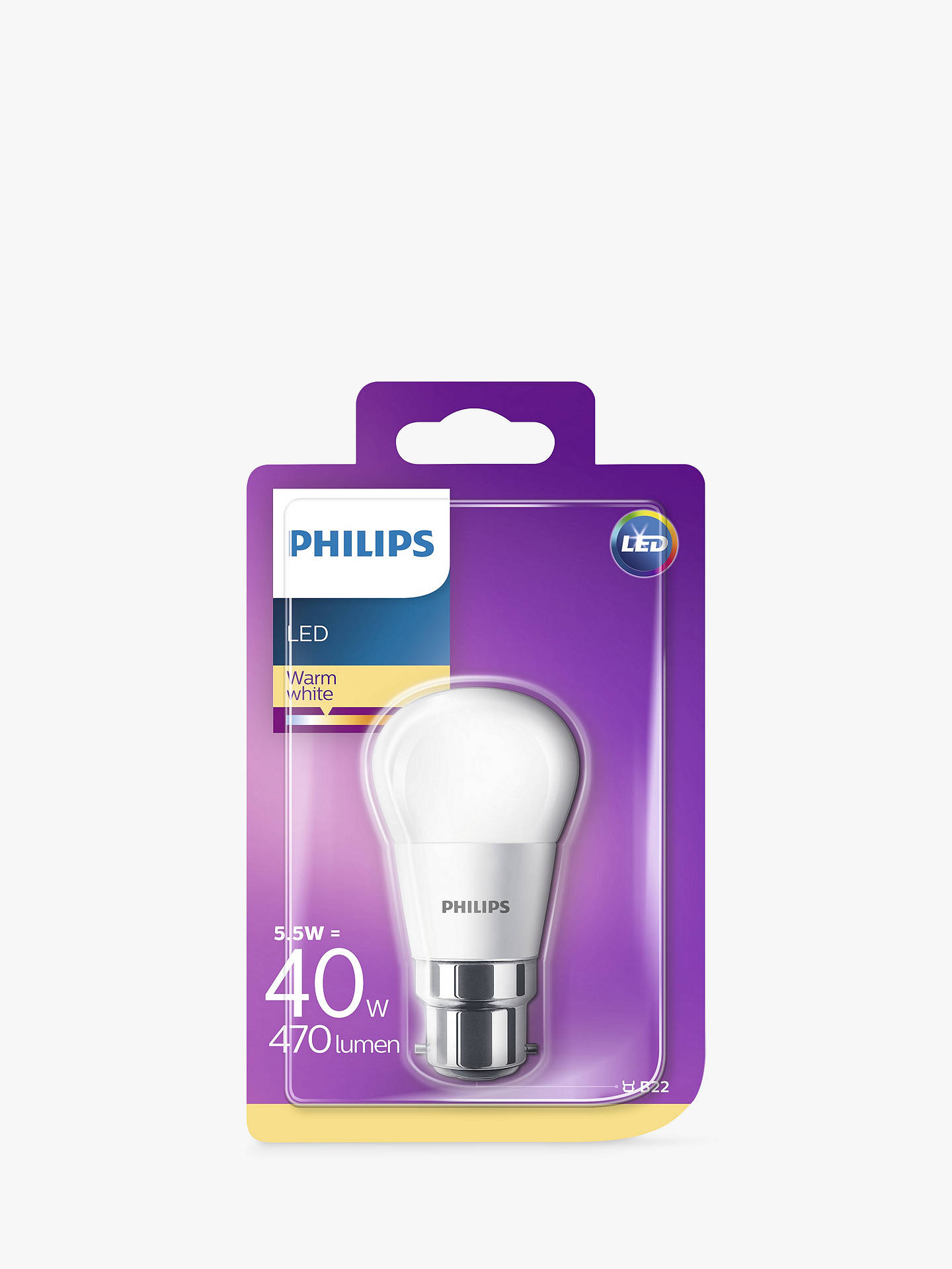 BuyPhilips 6W BC LED Golf Ball Bulb, Frosted Online at johnlewis.com