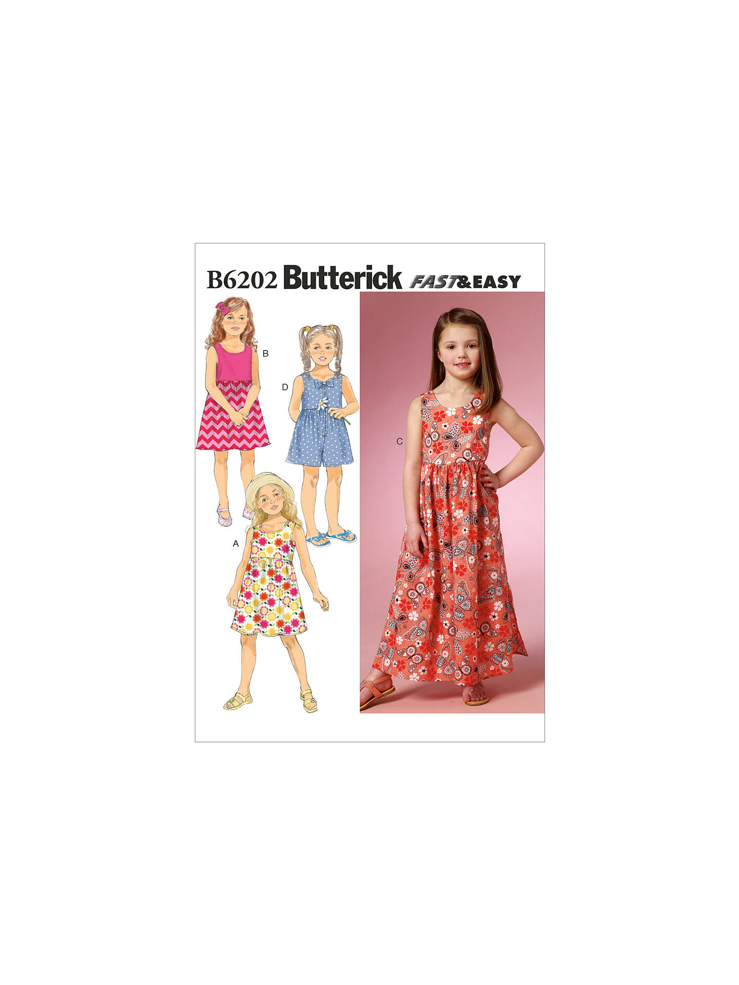 Butterick Girls\' Bow Appliqué Sleeveless Dress and Playsuit Sewing ...