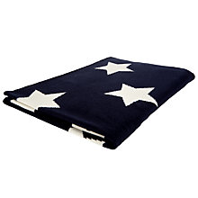 Buy John Lewis Star Baby Pram Blanket, Navy/White Online at johnlewis.com