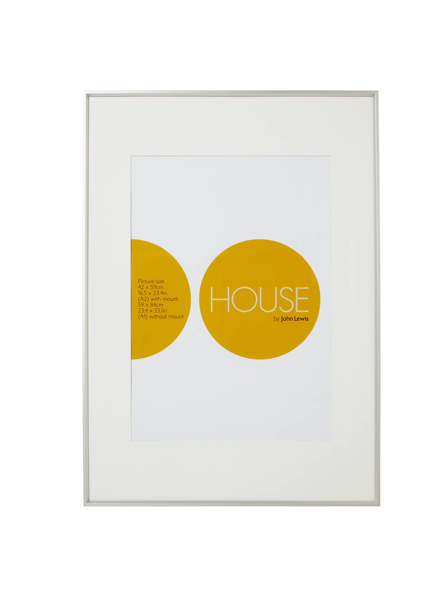 Buy House by John Lewis Aluminium Photo Frame, A1 with A2 Mount, Silver Online at johnlewis.com