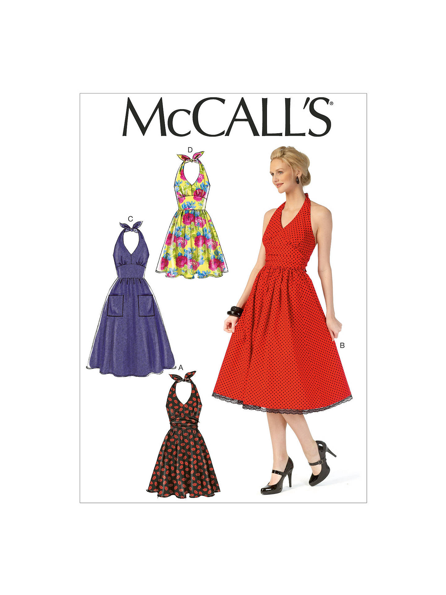 McCall\'s Vintage Flared Halter Neck Dress Sewing Pattern, 7157 at ...