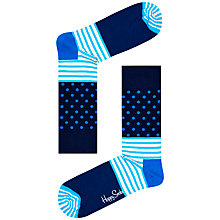 Buy Happy Socks Stripe Dot Socks, One Size, Blue Online at johnlewis.com