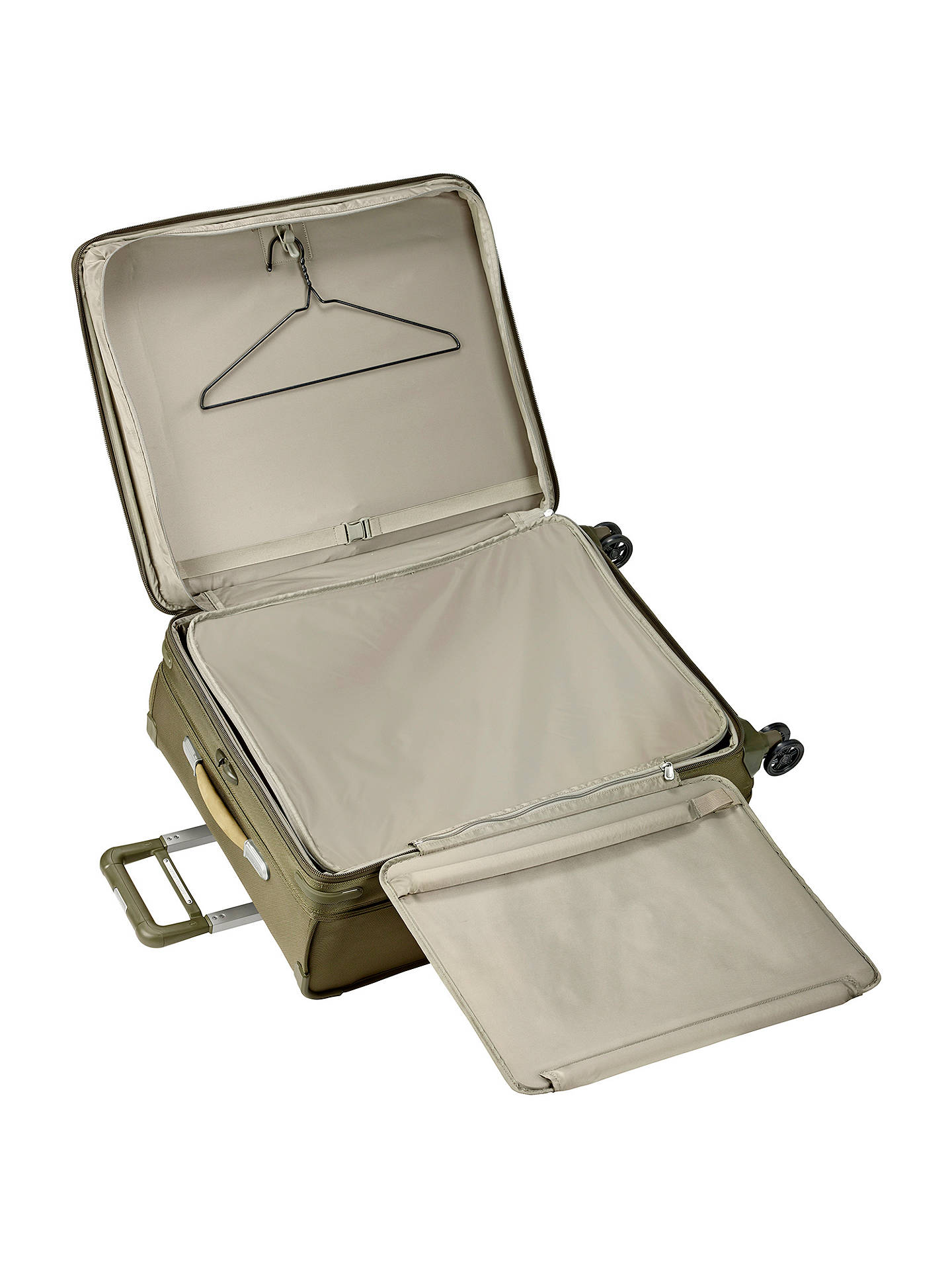 BuyBriggs & Riley Baseline Expandable 4-Wheel Spinner Large Suitcase, Olive Online at johnlewis.com