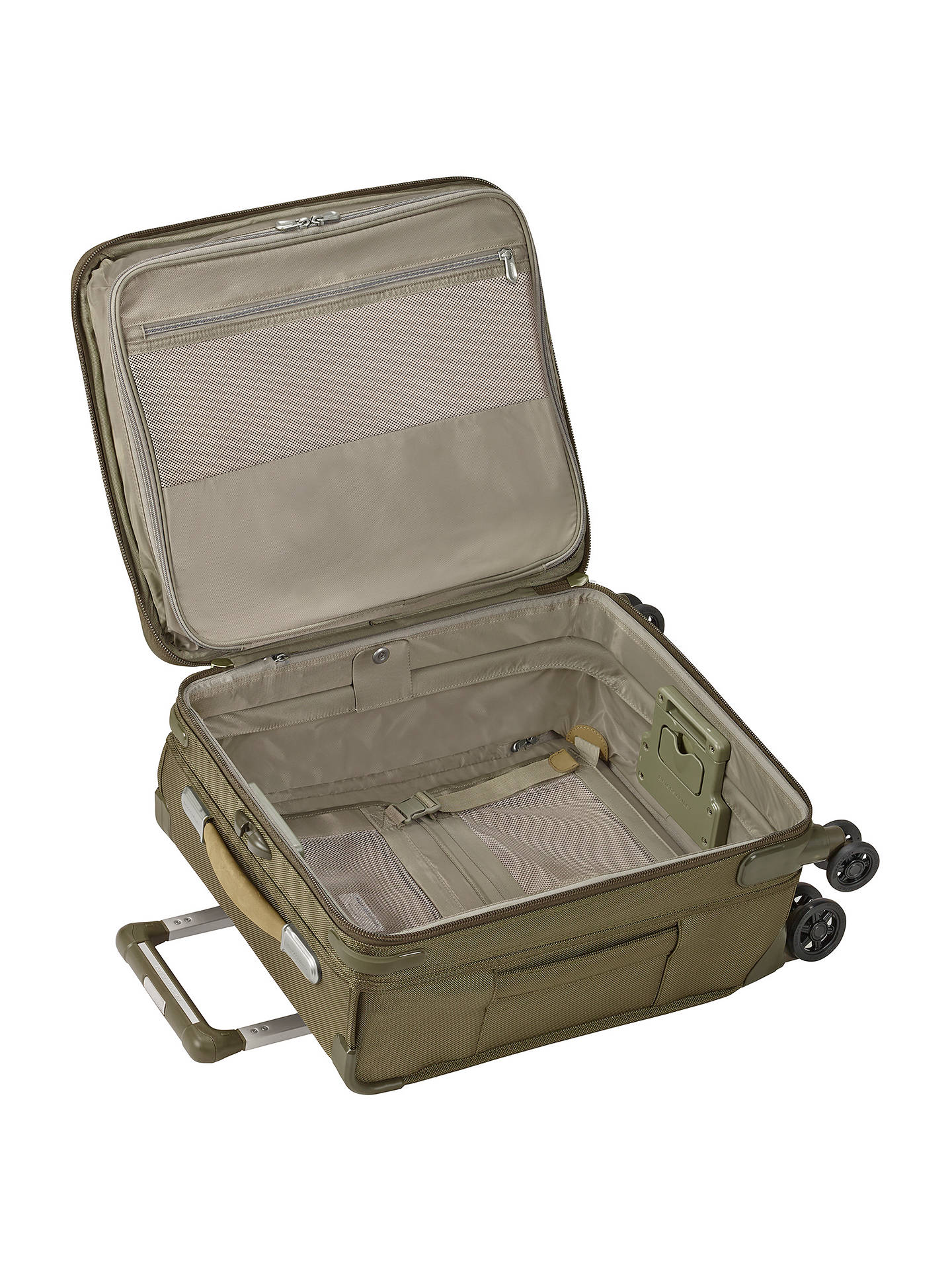 Buy Briggs & Riley Baseline International Carry-On Expandable Wide Body Spinner Cabin Suitcase, Olive Online at johnlewis.com