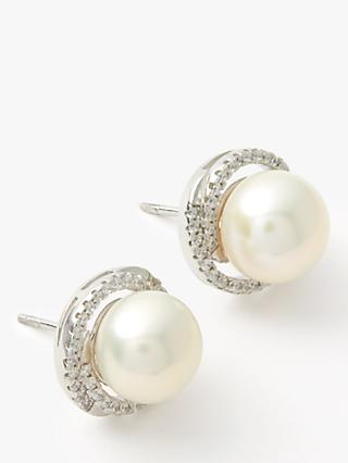 Lido Large Pearl Cubic Zirconia Twist Stud Earrings, White