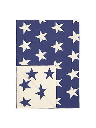 little home at John Lewis Star Throw, Blue/White