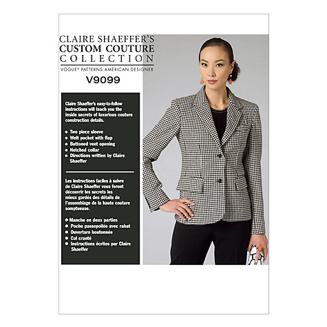 Buy Vogue Claire Shaeffer Women's Tailored Jacket Sewing Pattern, 9099 Online at johnlewis.com