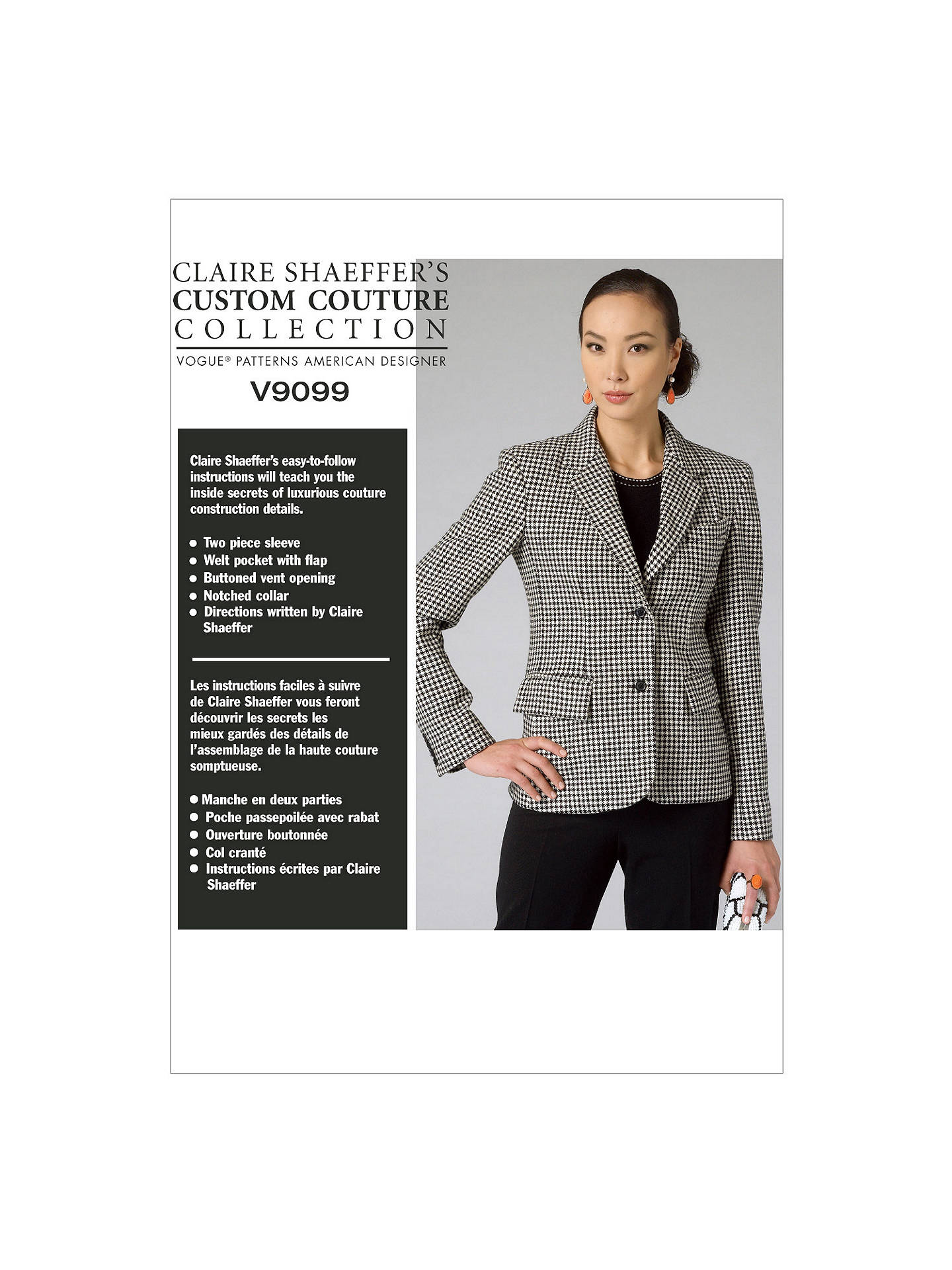 1f8650d2e5cdc BuyVogue Claire Shaeffer Women s Tailored Jacket Sewing Pattern, 9099, E5  Online at johnlewis.
