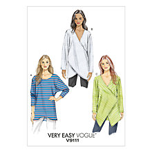 Buy Vogue Very Easy Women's Long Sleeve Wrap Detail Top Sewing Pattern, 9111 Online at johnlewis.com