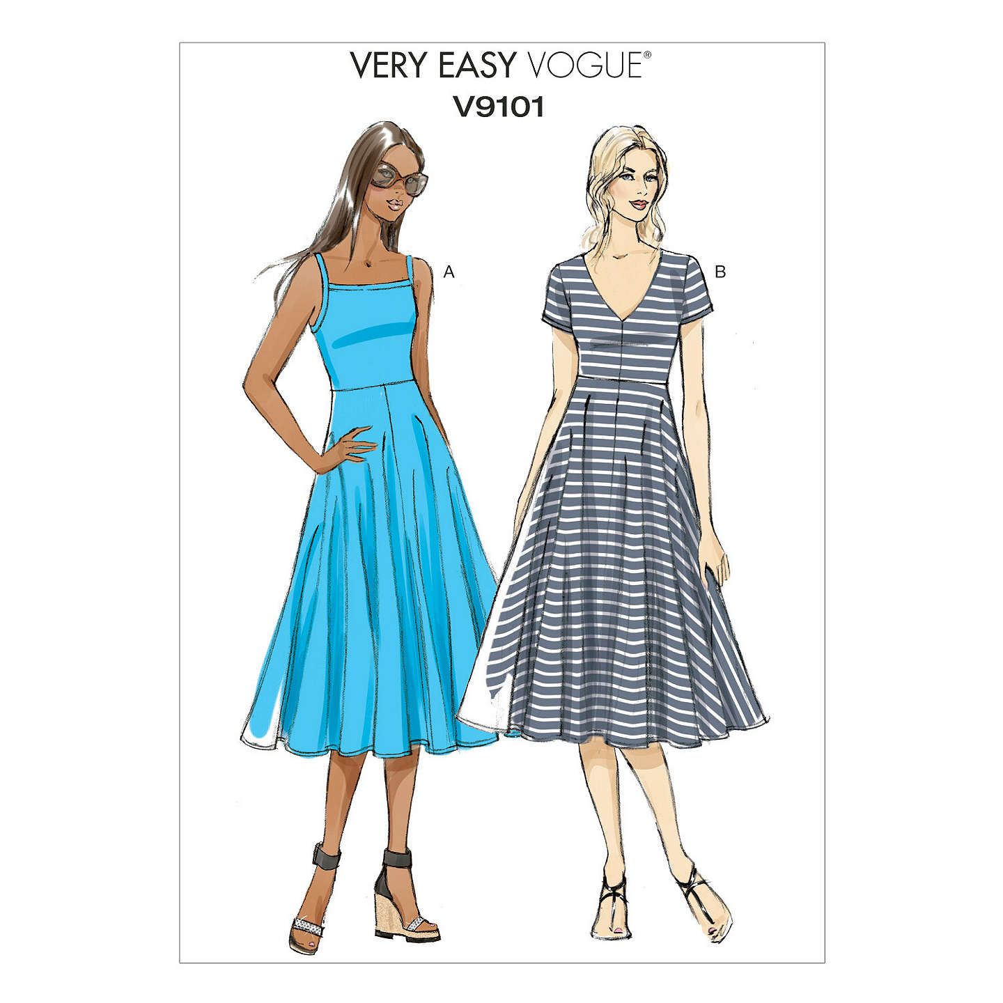 Vogue Very Easy Women\'s A-Line Dress Sewing Pattern, 9101 at John Lewis