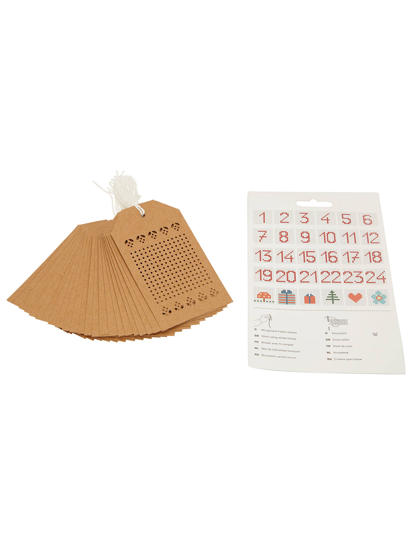 BuyRico Embroidery Gift Tags, Pack of 4, Brown Online at johnlewis.com