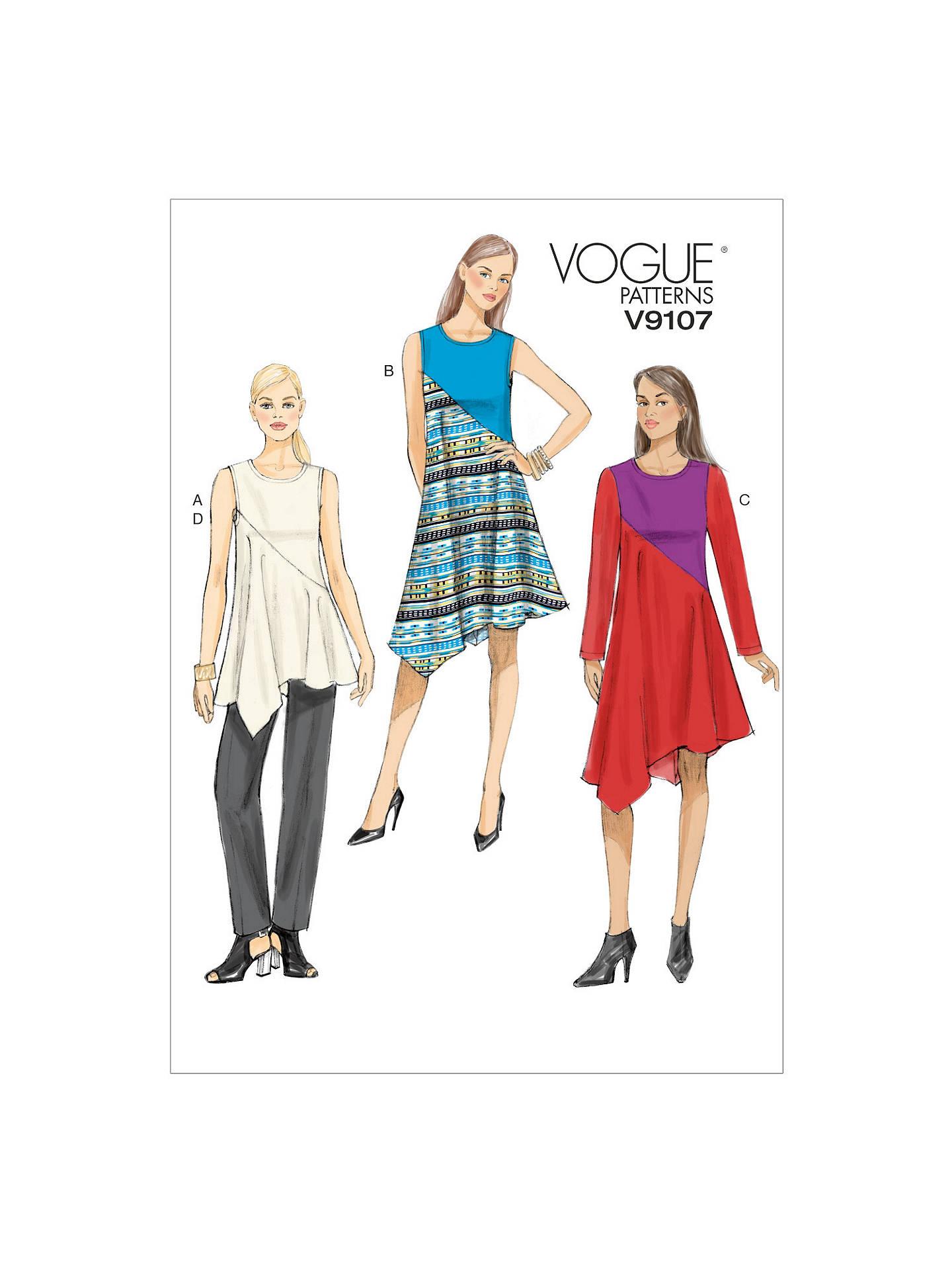 Vogue Women\'s Asymmetric Tunic, Dress and Trousers Sewing Pattern ...