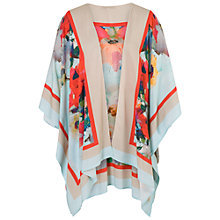 Buy Chesca Large Floral Print Kimono, Sky/Coral Online at johnlewis.com