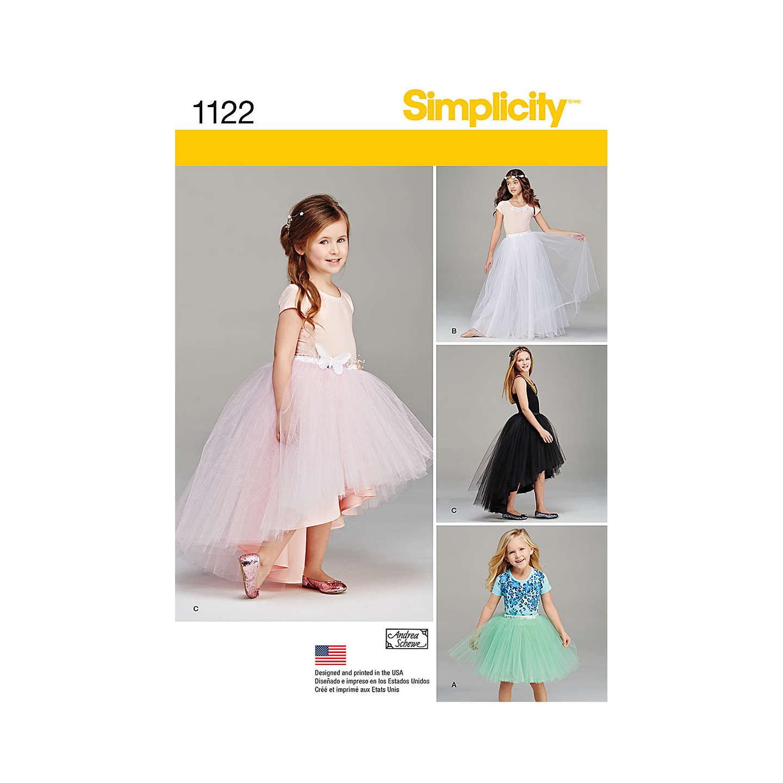 Simplicity Girls\' Tulle Skirt Sewing Pattern, 1122 at John Lewis