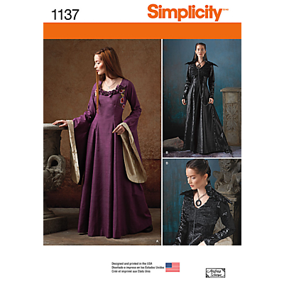 Image of Simplicity Women's Medieval Fantasy Costume Sewing Pattern, 1137