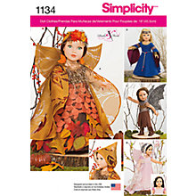 "Buy Simplicity 18"" Doll Mystical Clothes Sewing Pattern, 1134, One Size Online at johnlewis.com"