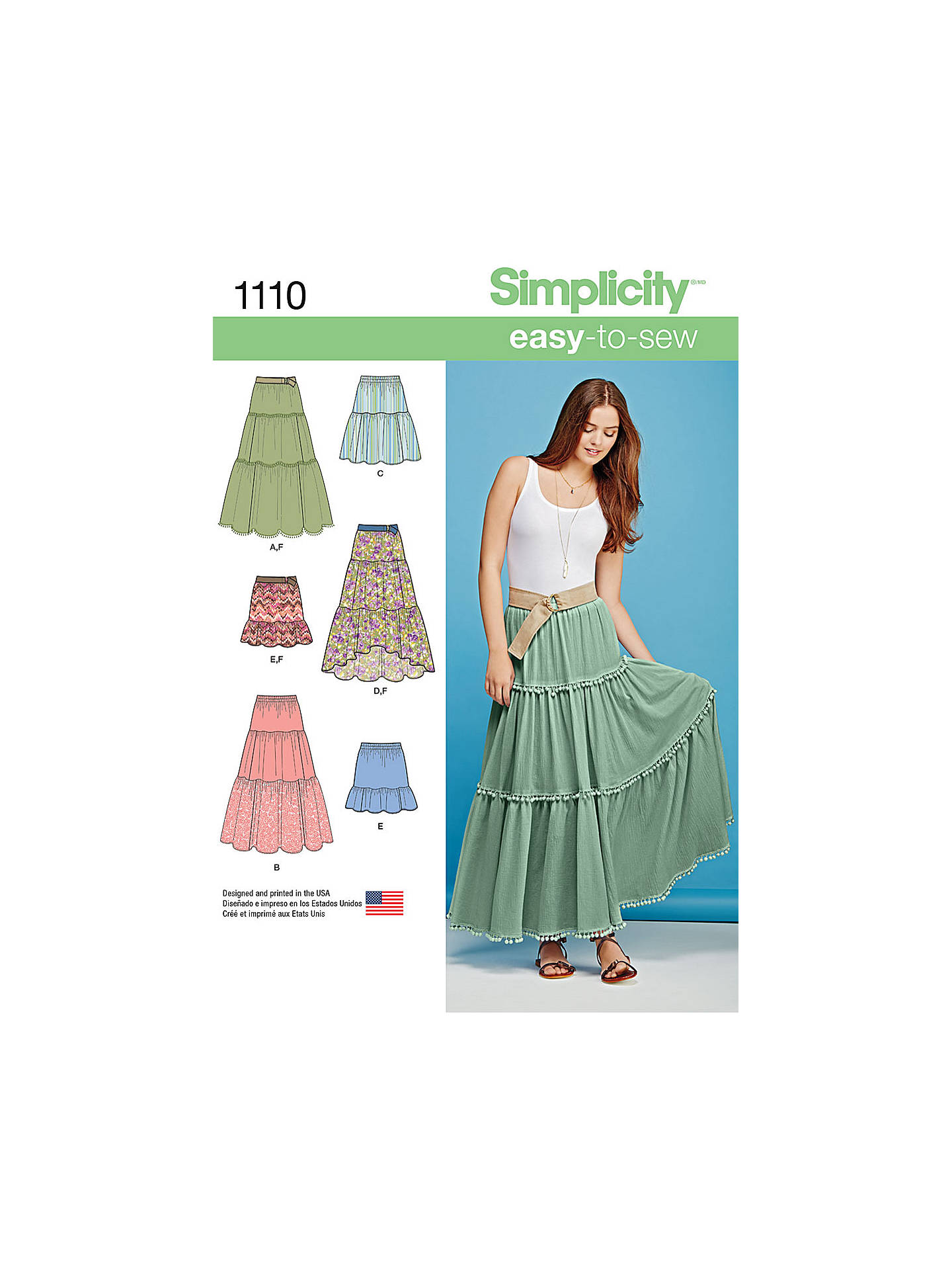 Simplicity Women\'s Bohemian Tiered Skirts Sewing Pattern, 1110 at ...