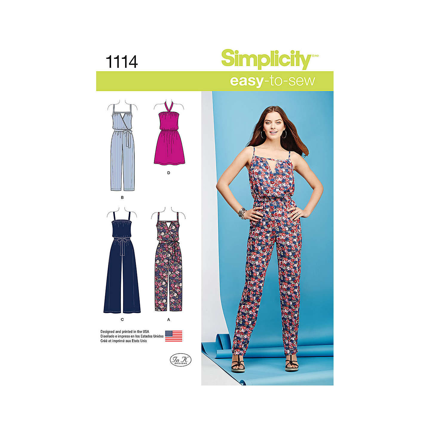 Simplicity Women\'s Dress and Jumpsuit Sewing Pattern, 1114 at John Lewis