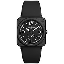 Buy Bell & Ross BRS-BL-CEM Unisex Ceramic Rubber Strap Watch, Black Online at johnlewis.com